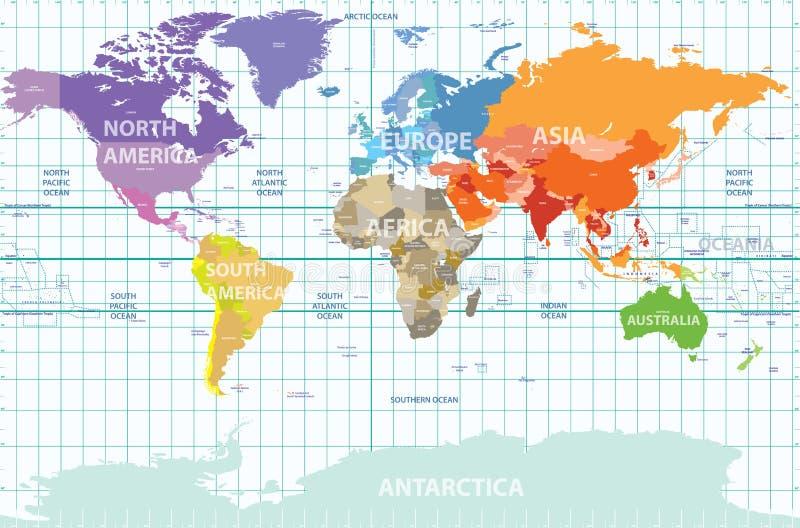 世界的政治地图与颜色分离的所有大陆,被标记国家和海洋和与被列举的经度 向量例证