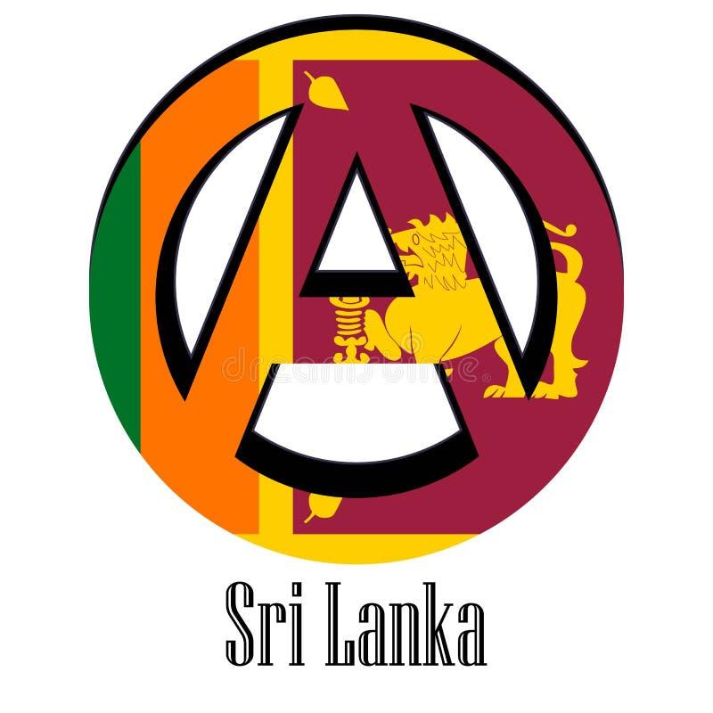 世界的斯里兰卡的旗子以无政府状态的形式标志的 库存例证