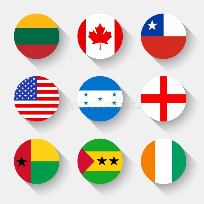 世界的旗子,圆的按钮 库存例证