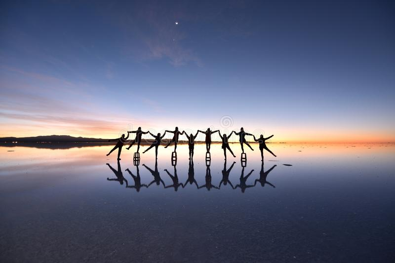 世界的最大的盐舱内甲板,乌尤尼盐沼,玻利维亚 免版税图库摄影