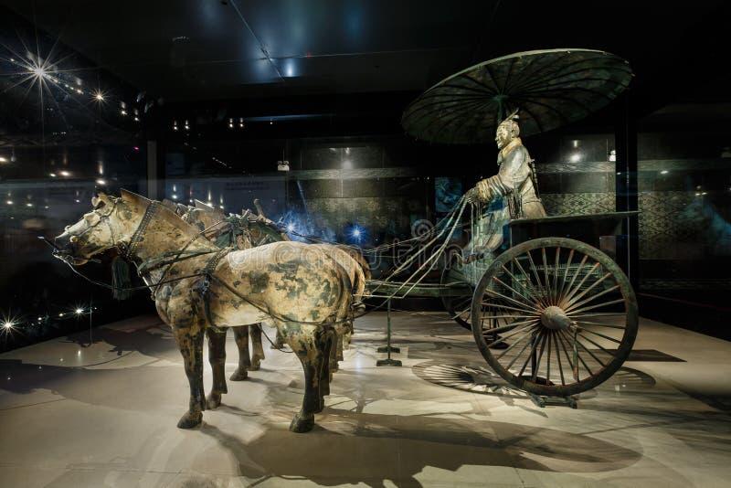 世界的最著名的赤土陶器战士镀青铜chariotï ¼ Œin西安,中国 免版税库存图片
