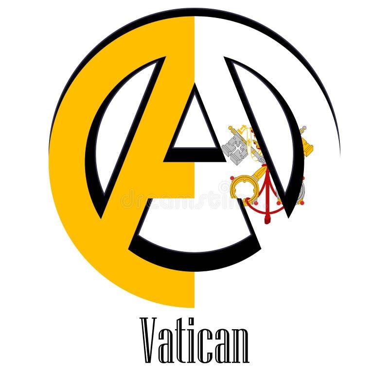 世界的梵蒂冈的旗子以无政府状态的形式标志的 向量例证