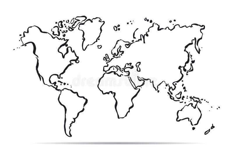 世界的概述地图 也corel凹道例证向量 皇族释放例证