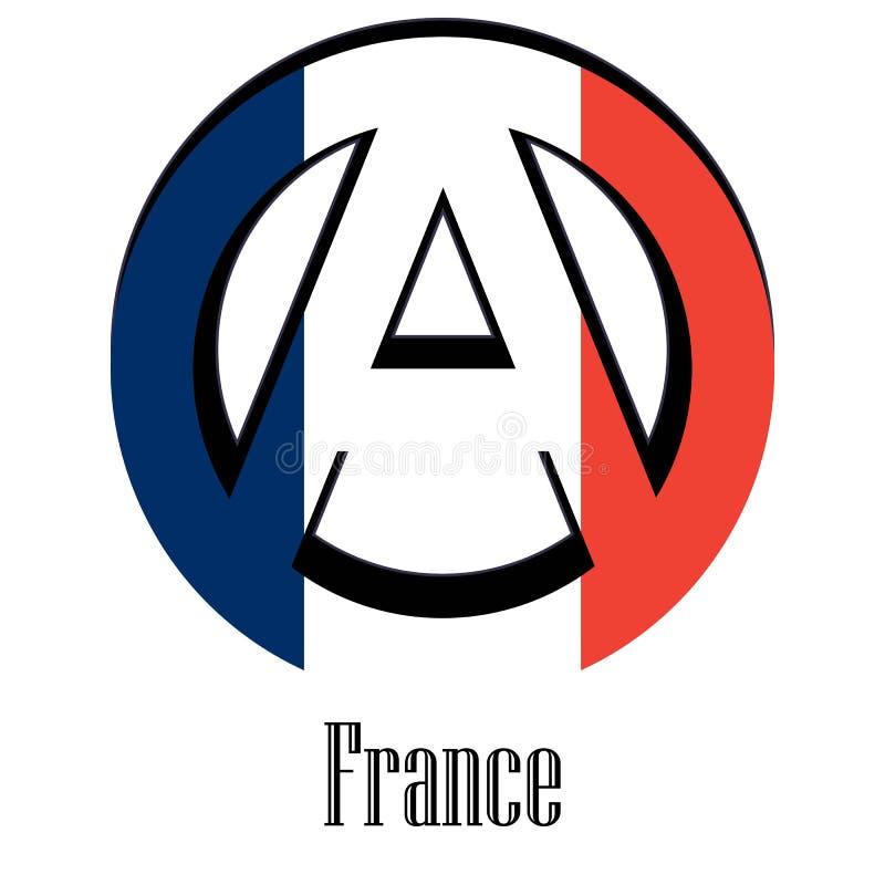 世界的法国的旗子以无政府状态的形式标志的 皇族释放例证