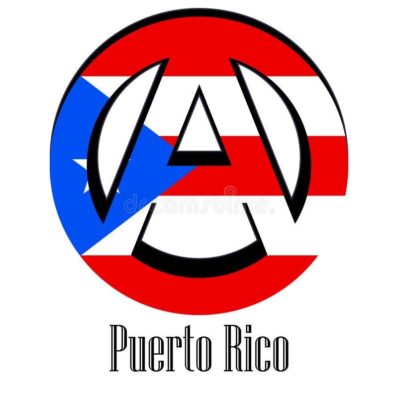 世界的波多黎各的旗子以无政府状态的形式标志的 向量例证