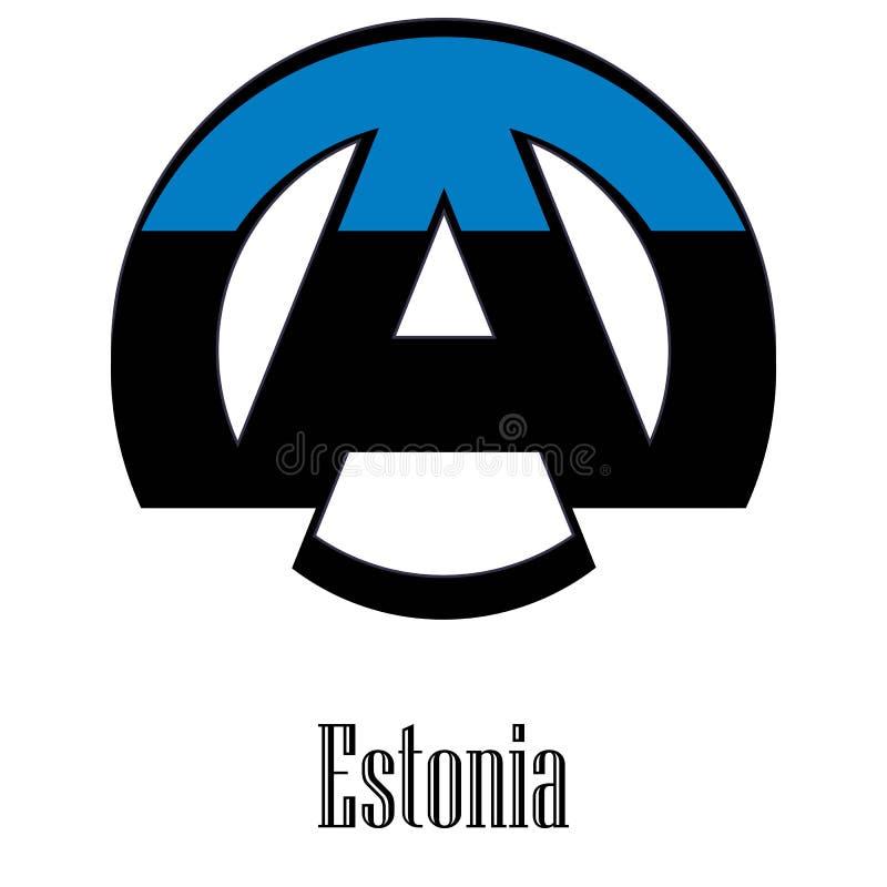 世界的爱沙尼亚的旗子以无政府状态的形式标志的 向量例证