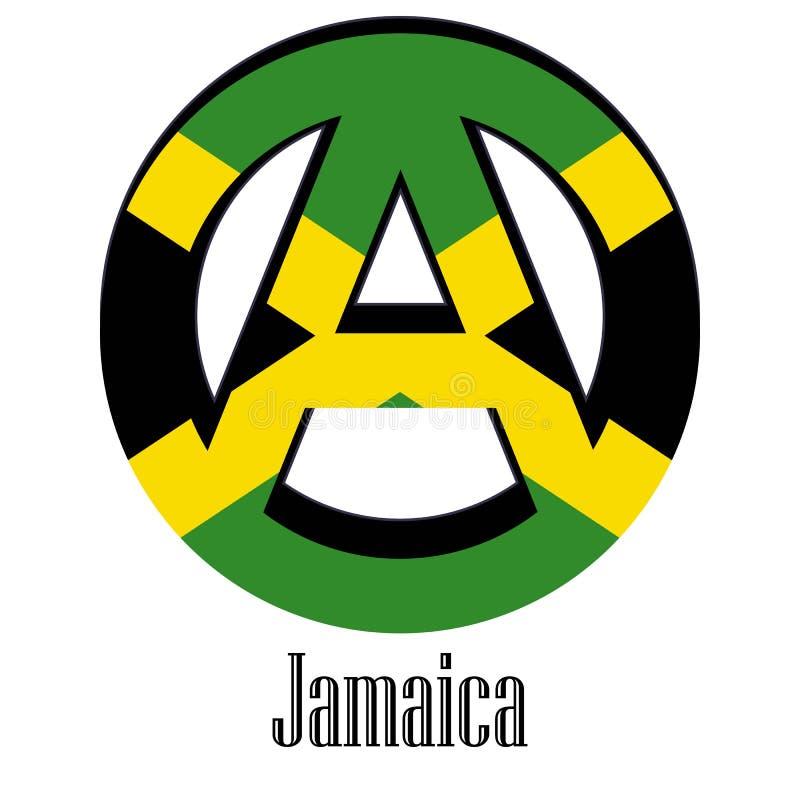 世界的牙买加的旗子以无政府状态的形式标志的 皇族释放例证
