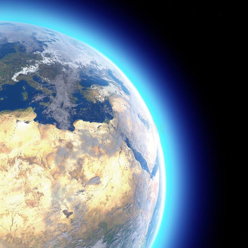 世界的物理地图,欧洲,中东非洲,亚洲卫星看法  ?? ?? r 皇族释放例证