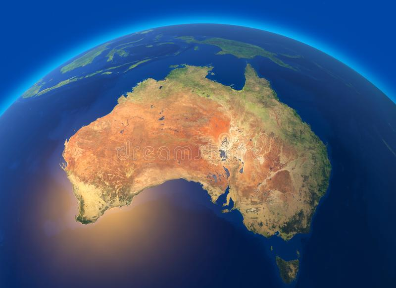 世界的物理地图,澳大利亚的卫星看法 大洋洲 地球 半球 安心和海洋 向量例证
