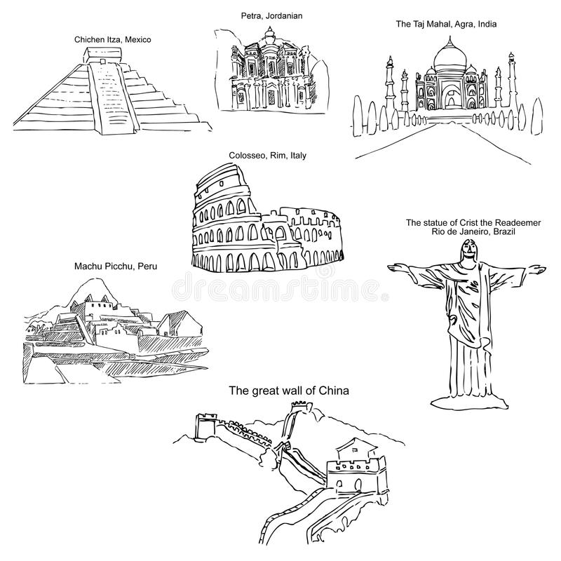 世界的现代七奇迹 剪影铅笔 用手画 向量 库存例证