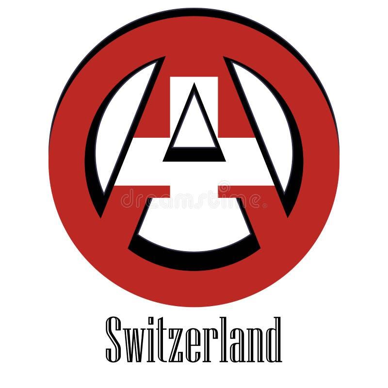 世界的瑞士的旗子以无政府状态的形式标志的 皇族释放例证