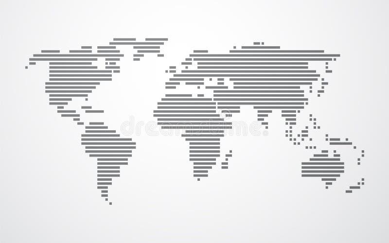 世界的简单的地图由黑条纹做成 库存例证