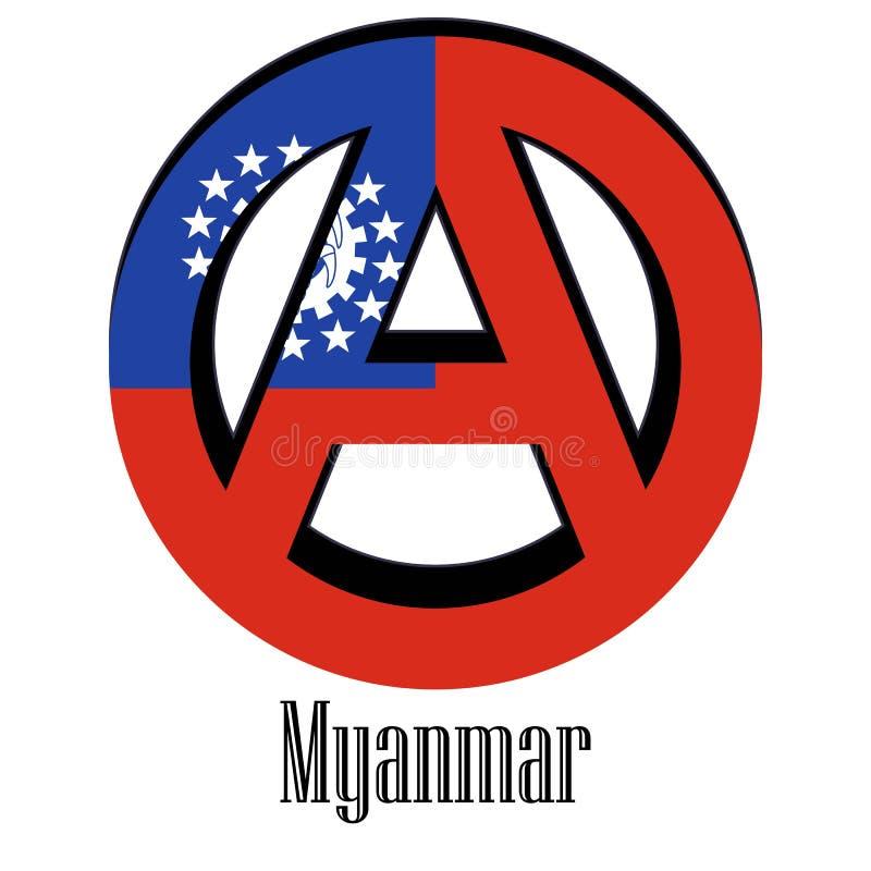 世界的缅甸的旗子以无政府状态的形式标志的 向量例证