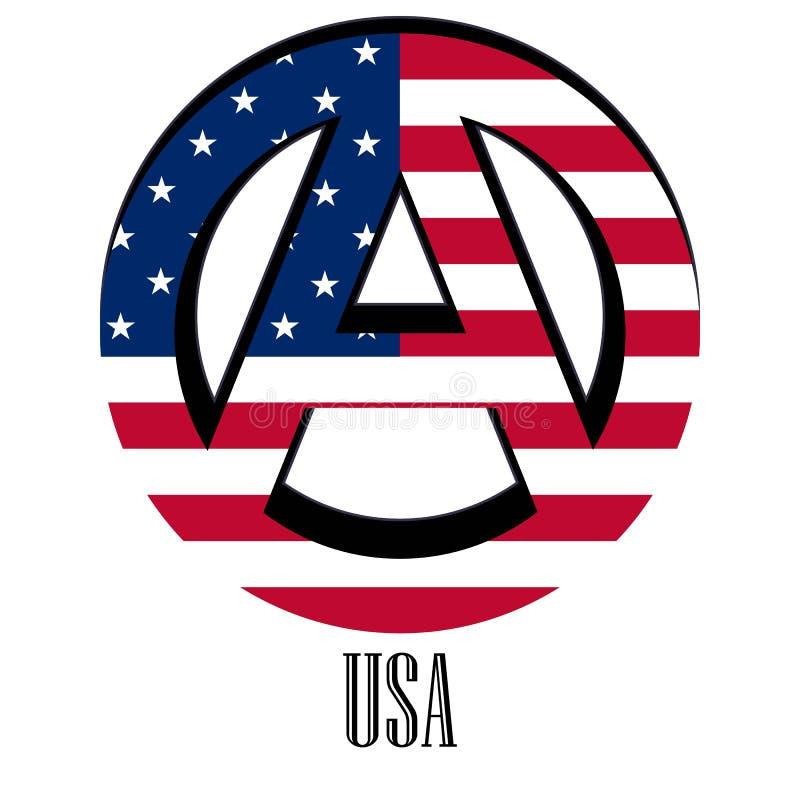 世界的美国的旗子以无政府状态的形式标志的 向量例证