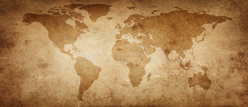 世界的老地图在老羊皮纸背景的 皇族释放例证