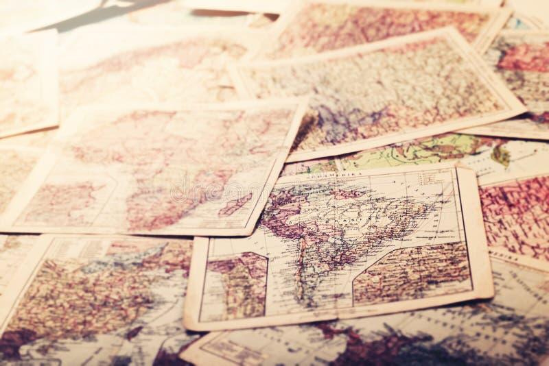 世界的老葡萄酒地图 免版税图库摄影