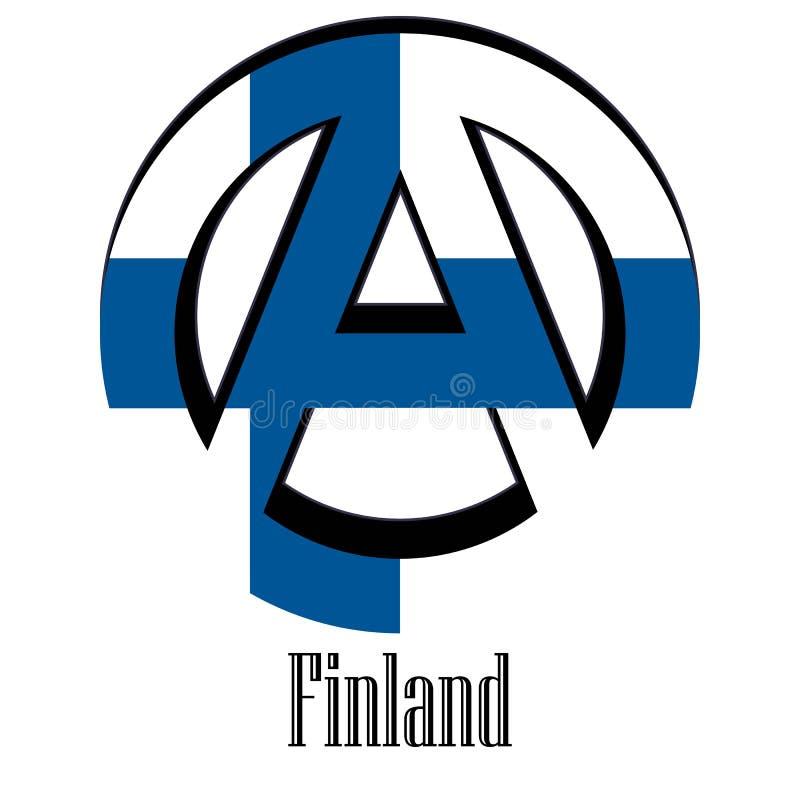 世界的芬兰的旗子以无政府状态的形式标志的 向量例证