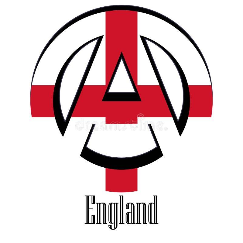 世界的英国的旗子以无政府状态的形式标志的 向量例证