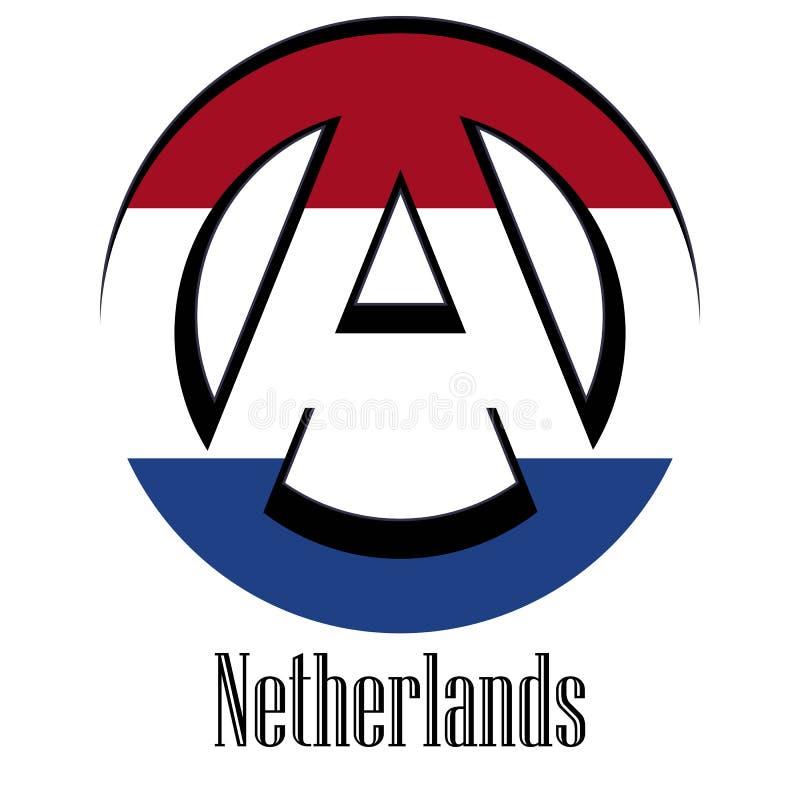 世界的荷兰的旗子以无政府状态的形式标志的 向量例证