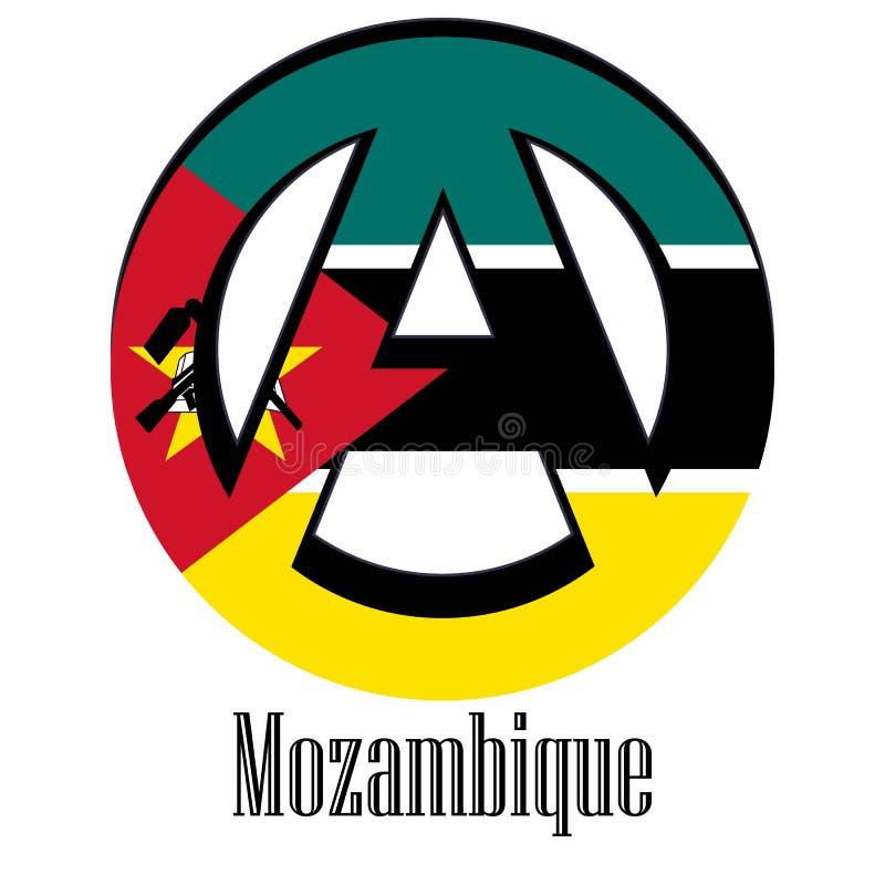 世界的莫桑比克的旗子以无政府状态的形式标志的 向量例证