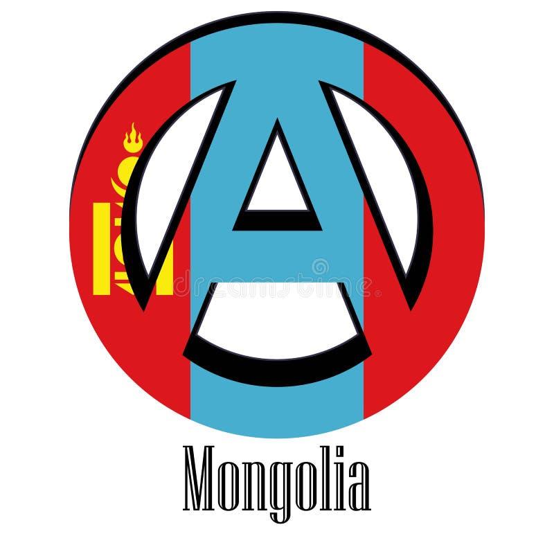 世界的蒙古的旗子以无政府状态的形式标志的 向量例证