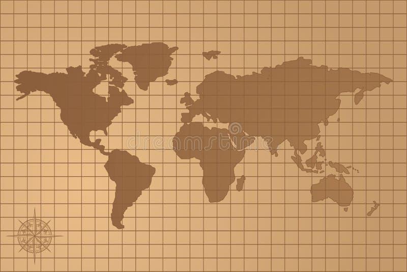 世界的被说明的地图与所有大陆的 皇族释放例证