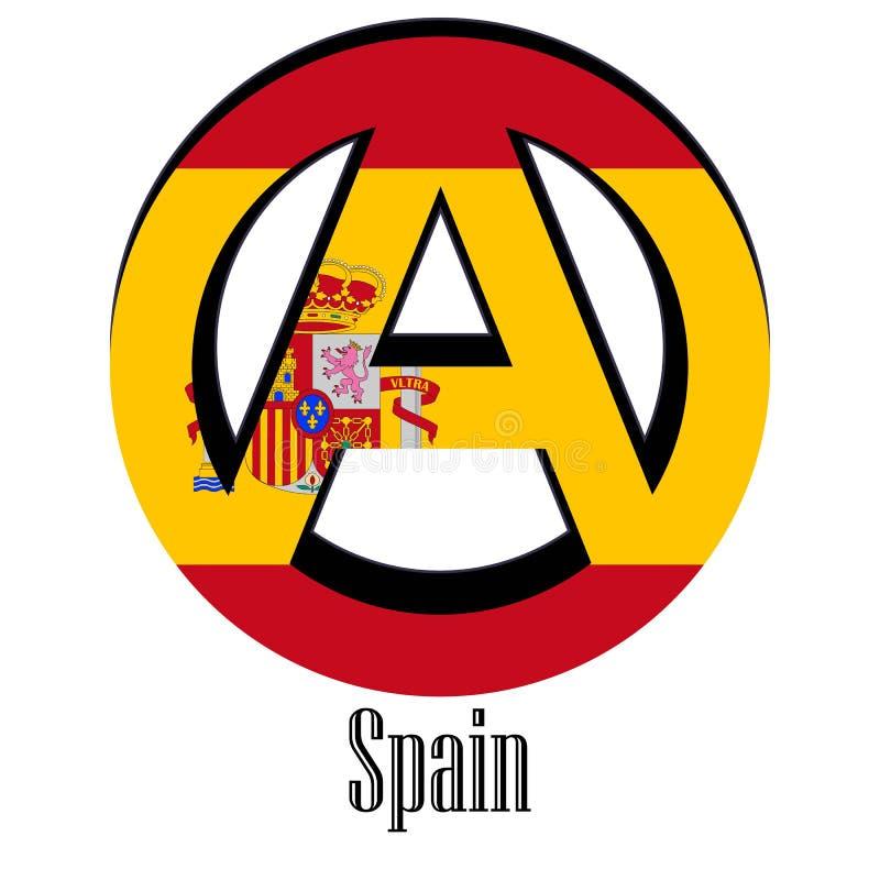 世界的西班牙的旗子以无政府状态的形式标志的 向量例证