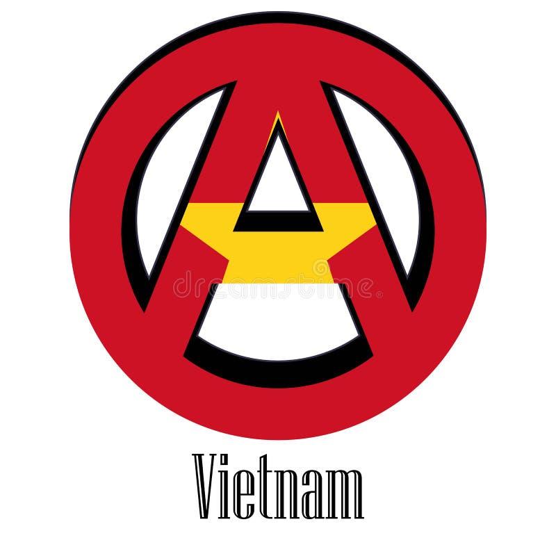 世界的越南的旗子以无政府状态的形式标志的 库存例证
