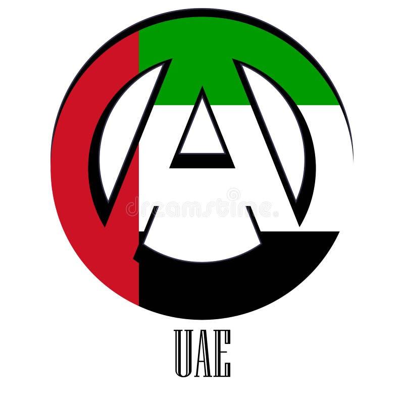 世界的阿拉伯联合酋长国的旗子以无政府状态的形式标志的 向量例证