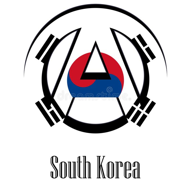 世界的韩国的旗子以无政府状态的形式标志的 皇族释放例证