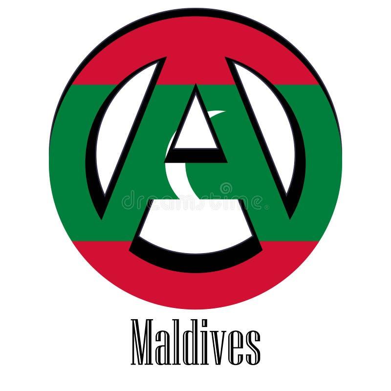 世界的马尔代夫的旗子以无政府状态的形式标志的 向量例证