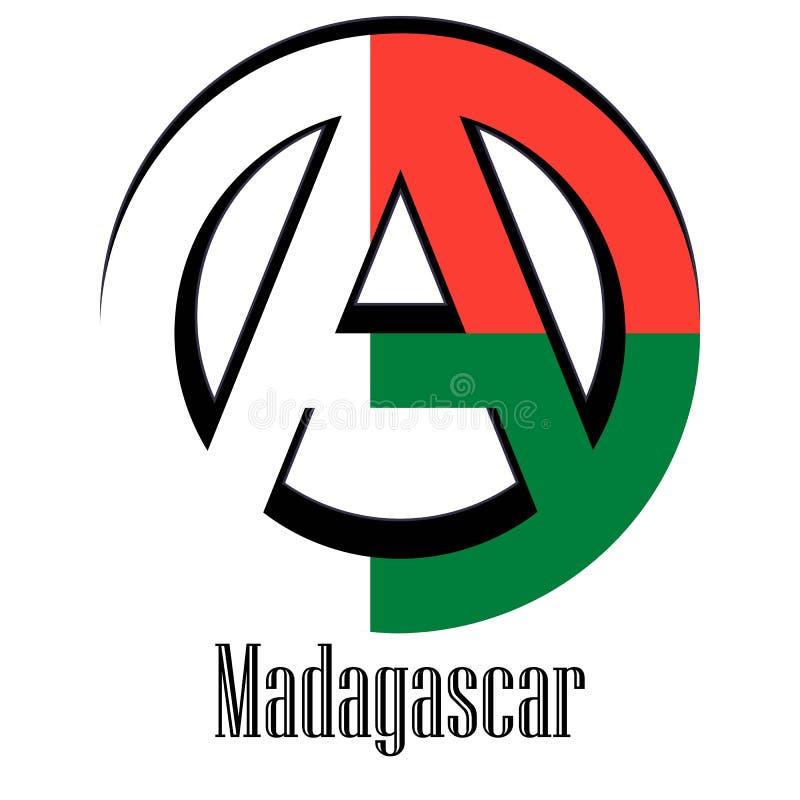 世界的马达加斯加的旗子以无政府状态的形式标志的 皇族释放例证
