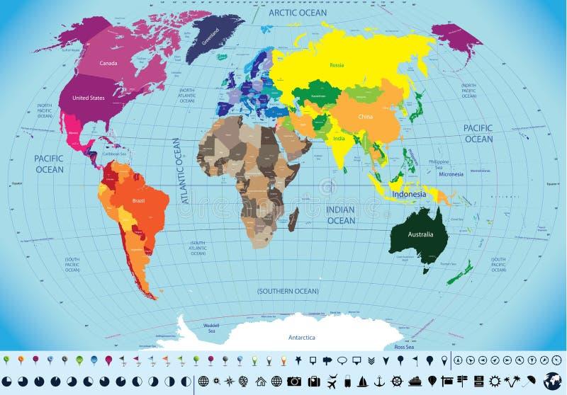 世界的高详细的地图 库存例证