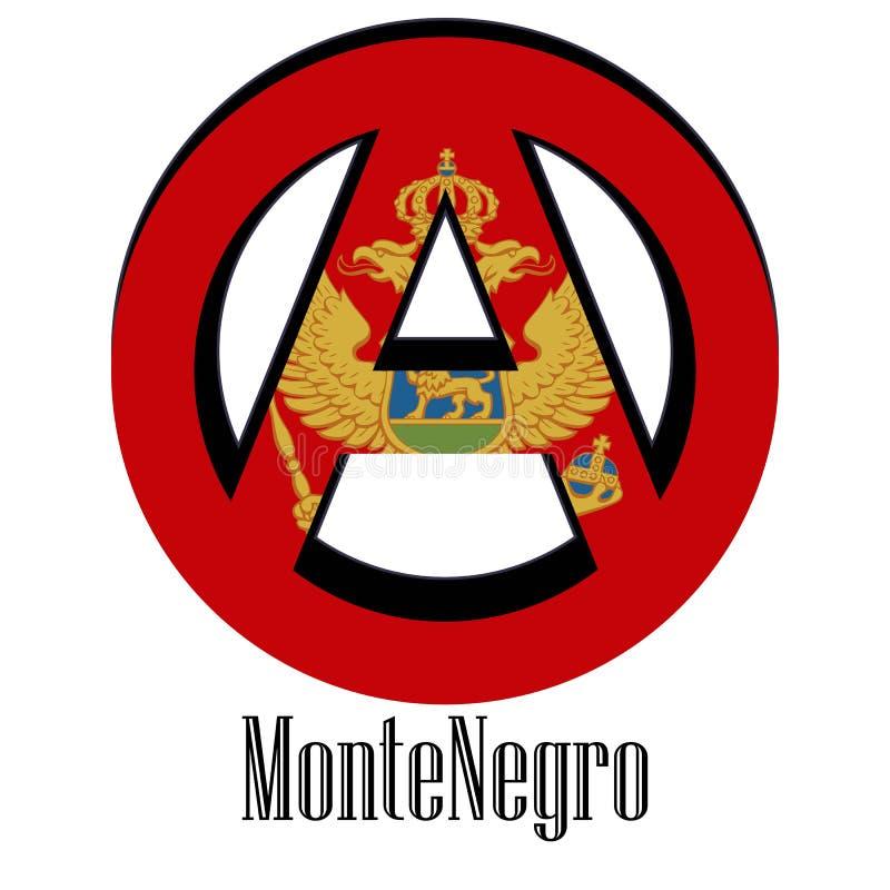 世界的黑山的旗子以无政府状态的形式标志的 库存例证