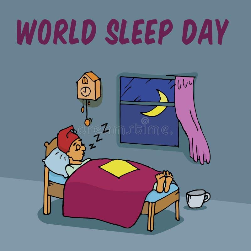 世界睡眠天 库存例证