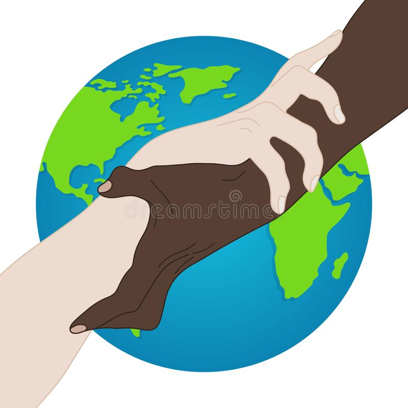 世界种族平等 团结,联盟,队,伙伴概念 握显示团结的手 关系象 r 皇族释放例证