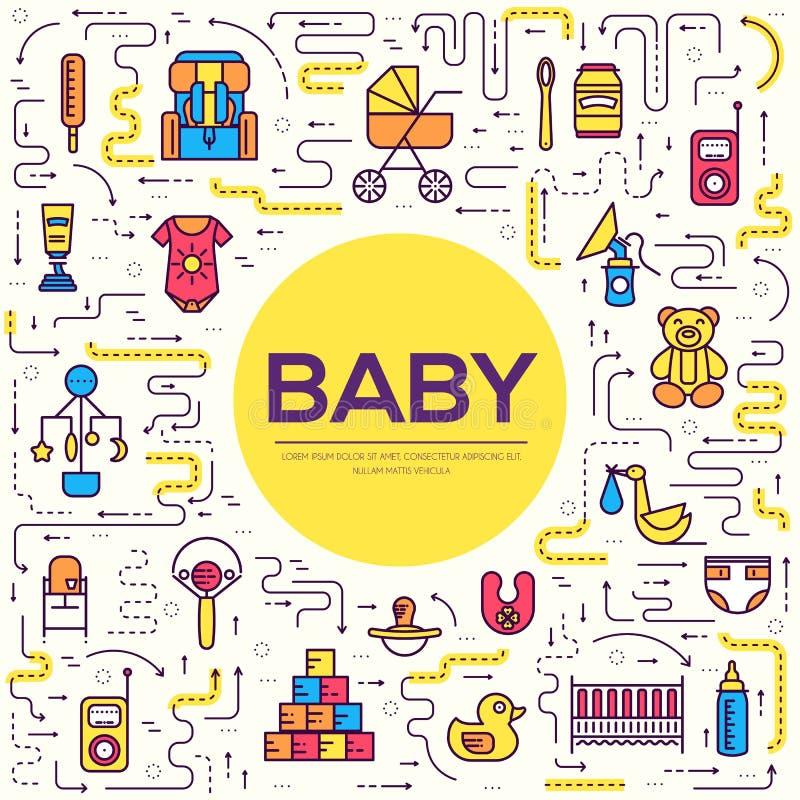 世界稀薄的线哺乳的星期和孩子元素平的象集合概念 儿童概述例证设计 库存例证