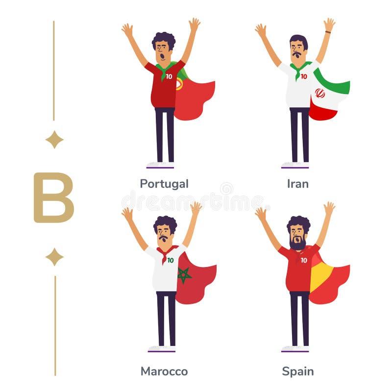 世界竞争 足球迷支持国家队 与旗子的足球迷 葡萄牙,伊朗, Marocco,西班牙 体育运动 皇族释放例证