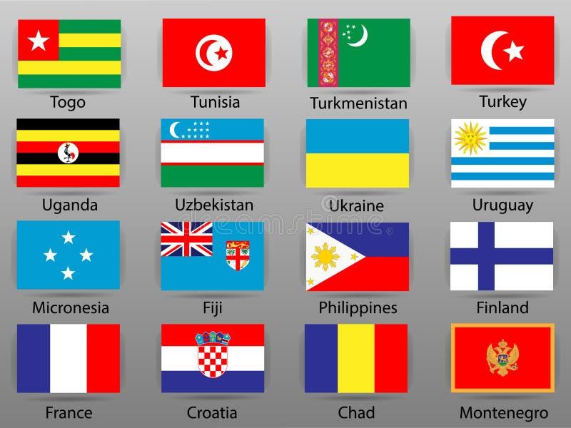 世界第10的所有国家部分旗子  皇族释放例证