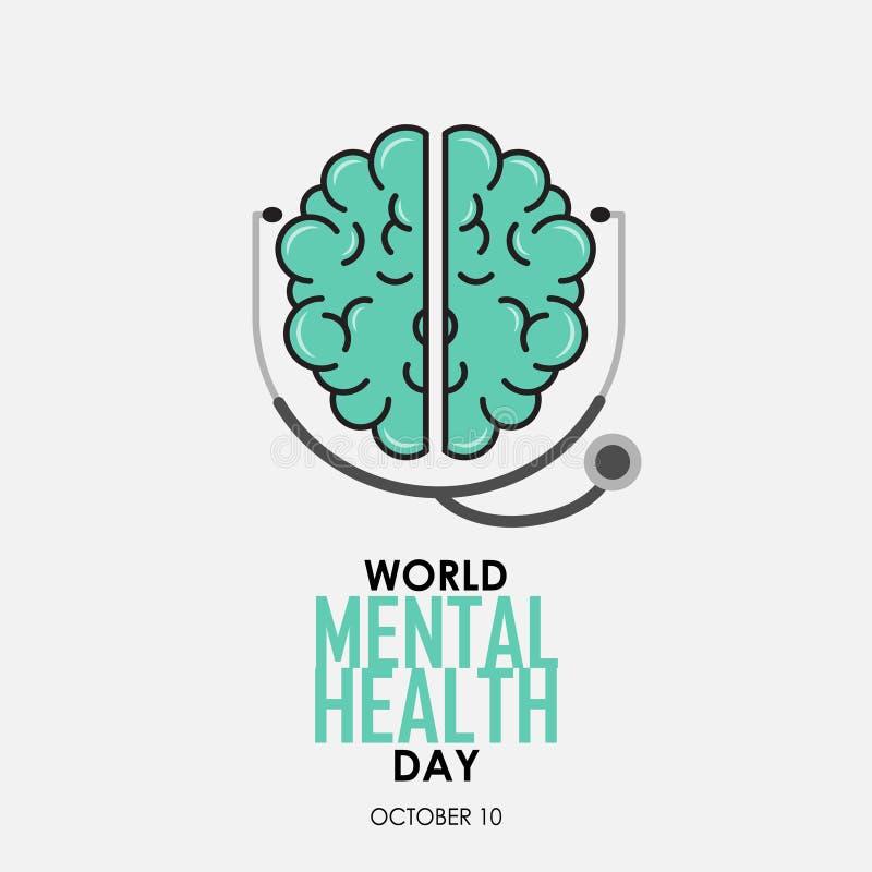 世界精神健康天背景 向量例证
