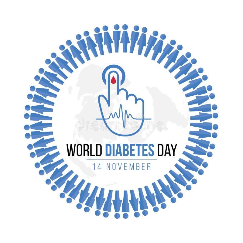 世界糖尿病与蓝色人的象圈子的天了悟和血液为血糖水平在手边下降并且挥动在地图的脉冲标志 库存例证
