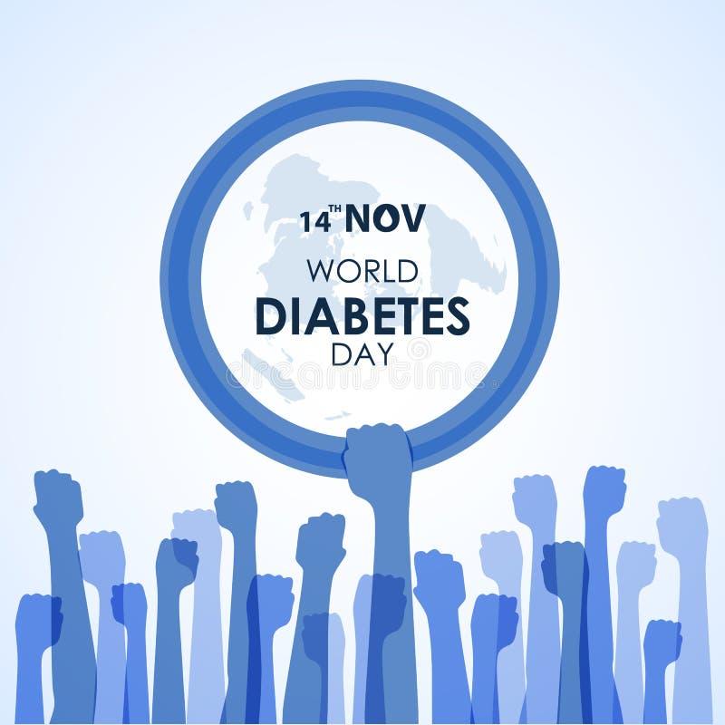 世界糖尿病与蓝色手举行手圈子蓝色圆环标志的天了悟和手标志传染媒介例证设计 皇族释放例证