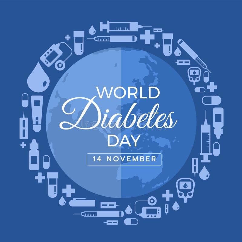 世界糖尿病与象diabets工具的天横幅在圈子世界地球标志传染媒介设计附近 皇族释放例证