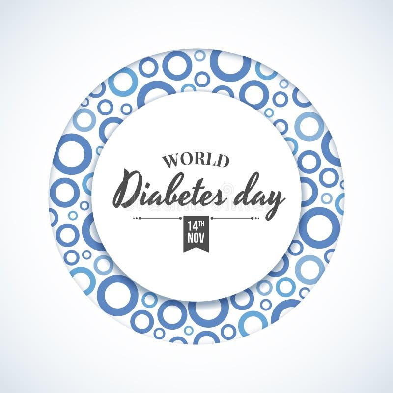 世界糖尿病天横幅-与抽象蓝色圈子rigns纹理传染媒介设计的圈子环锭细纱机 库存例证
