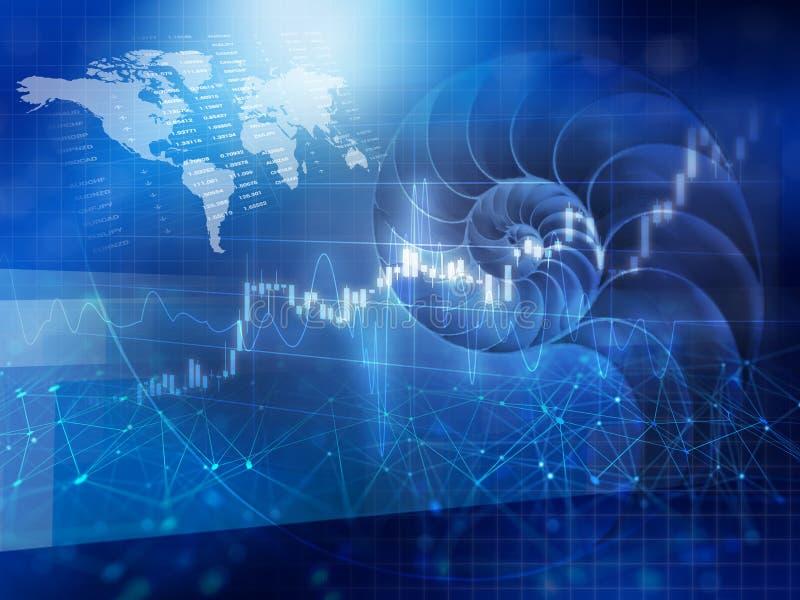 世界经济和财务与壳 向量例证