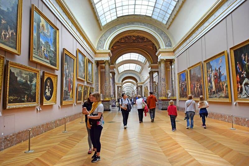 世界绘画` s杰作在罗浮宫在巴黎,法国 库存图片