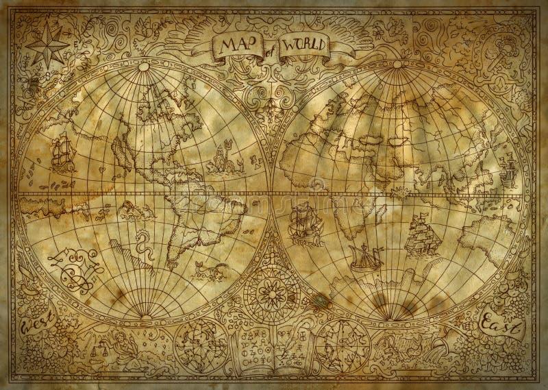 世界老地图集地图的葡萄酒例证在古老纸背景的 向量例证