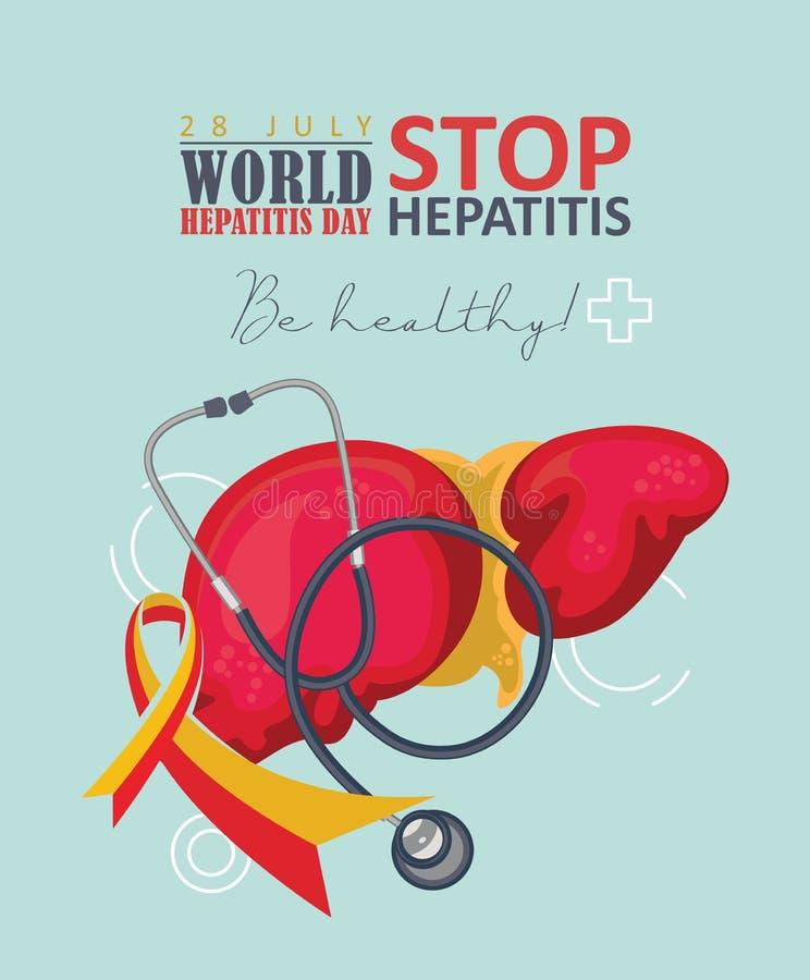 世界肝炎天在现代平的设计的传染媒介概念在白色背景 7月28日 是健康的 库存例证