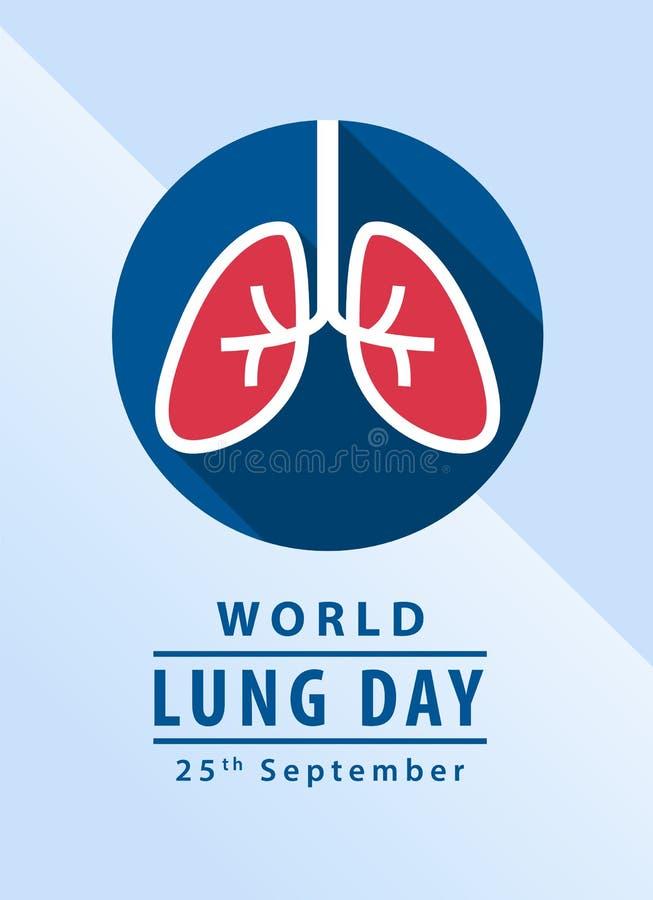 世界肺与肺的天横幅在圈子标志传染媒介设计 向量例证