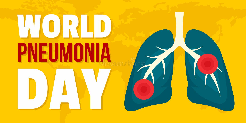 世界肺炎水平天的横幅,平的样式 库存例证